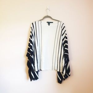 Ralph Lauren Black and White Striped Poncho